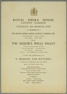 Programme for A Mirror for Witches, Sadler's Wells, 1952