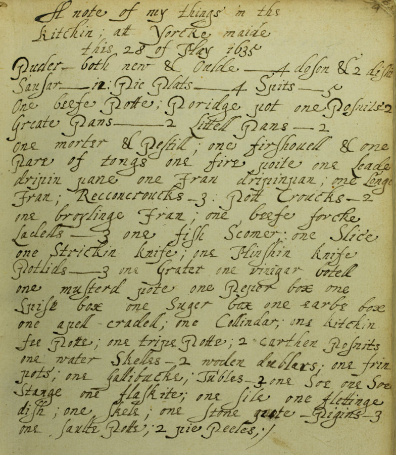 Dame Mary Lister's Household Book, 1623-35