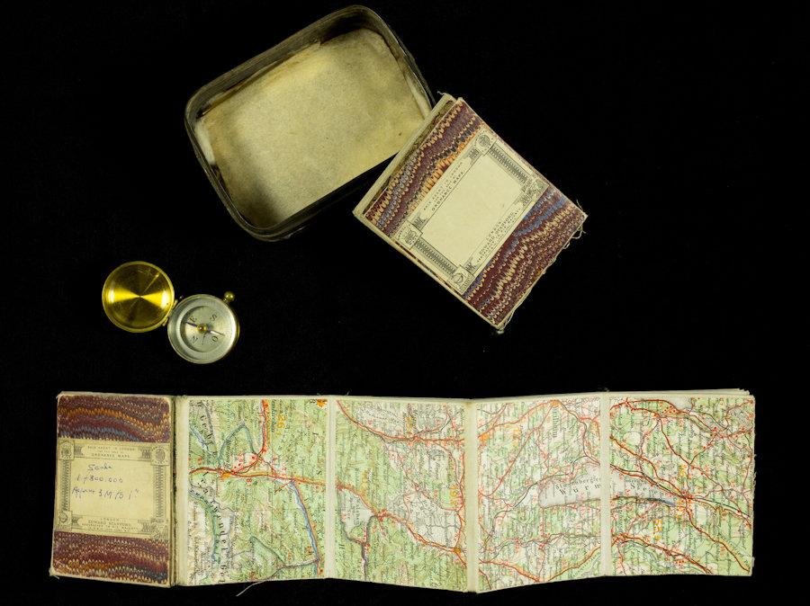 Bertram Ratcliffe's sardine tin and map of Bavaria, 1916