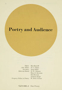 Poetry and Audience  11th October 1957. Editor: James Simmons