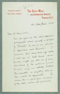 Robert Leighton Letter to Bram Stoker 1