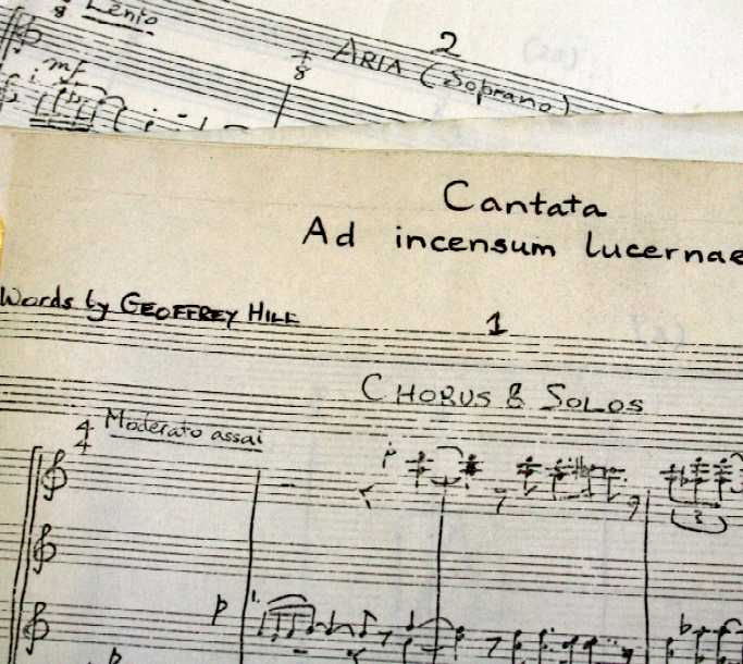 Leeds University Library, Special Collections MS 420. James Brown, Cantata: Ad Incensum Lucernae (1976).