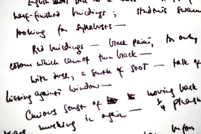 Notes by Crossley-Holland on his first impressions of Leeds. Leeds University Library, Brotherton Collection MS 20c Crossley-Holland/7/4/1.