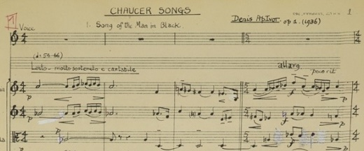 Detail of score for Chaucer Songs, Denis ApIvor, 1936