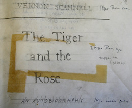 Title-page marked up for printing from typescript of Scannell's autobiographical work The Tiger and the Rose (published 1971). Leeds University Library, Special Collections MS 425/4.