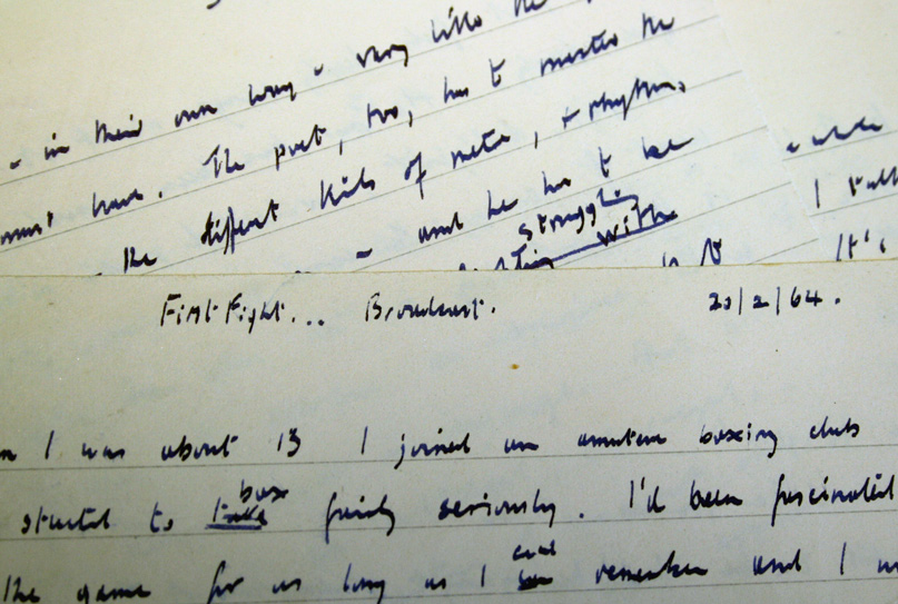 Manuscript of Vernon Scannell's Introduction to 'First Fight' (1964). Leeds University Library, Brotherton Collection MS 20c Scannell/3/3.