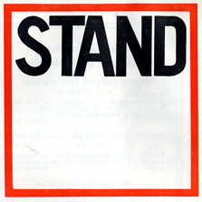 Stand logo in red.