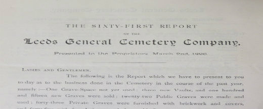 MS 421/1/4/4 Leeds General Cemetery Annual Report