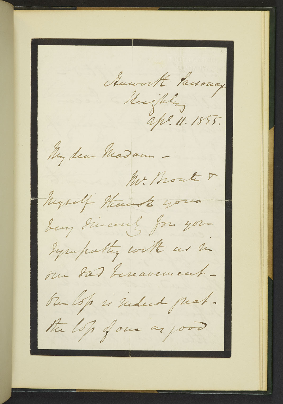 A B Nicholls letters to Ellen Nussey Copyright University of Leeds