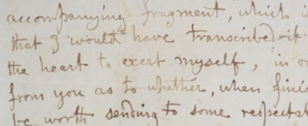 Branwell Bronte letter fragment